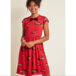 ModCloth • New A-Line Dress in Crimson Cat sz M